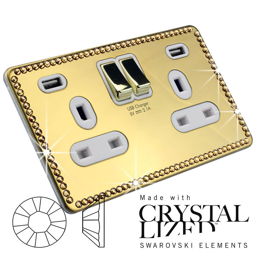 Polished Brass USB Socket