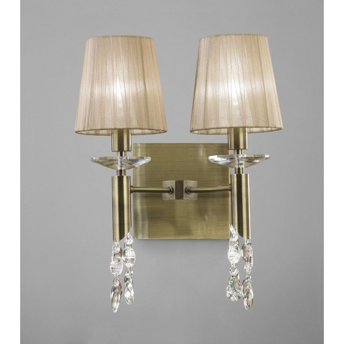 Crystal Wall Lamp Shades : Mantra M3883/S Tiffany Wall Lamp Switched 2+2 Light E14, Antique Brass With Soft Bronze Shades ...