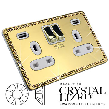USB Plug Socket with Swarovski Elements Crystal