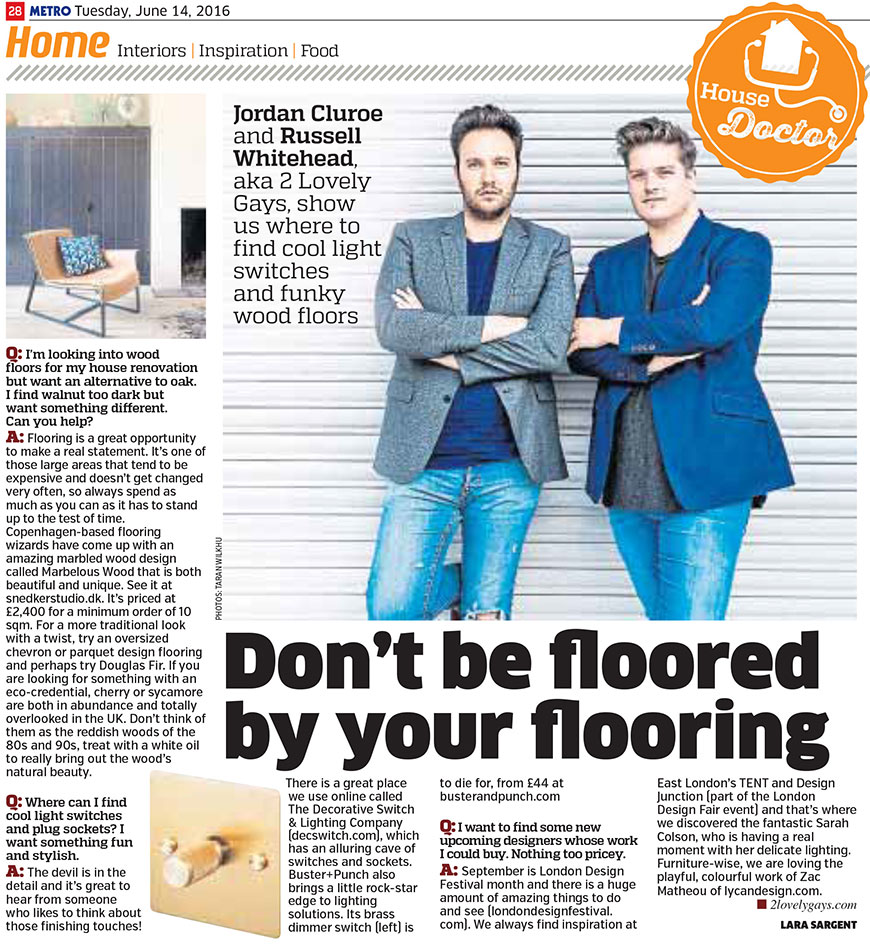 The Decorative Switch & Lighitng Company in The Metro newspaper