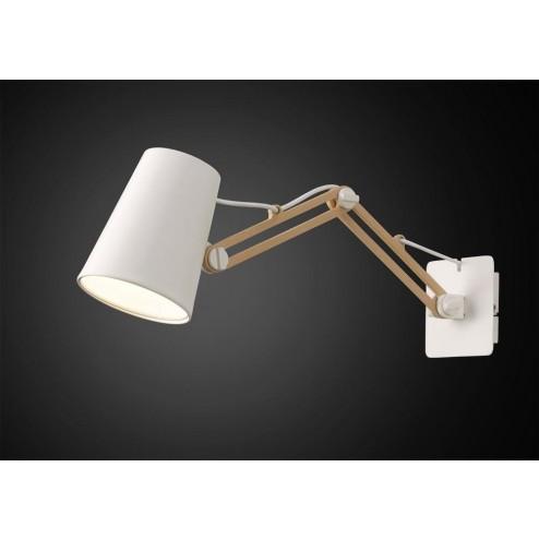 Mantra M3773/S Looker Wall Lamp Switched 1 Light E27 Double Arm, Matt White/Beech