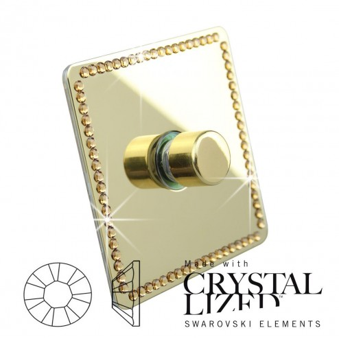 Ultimate Screwless 1 Gang 2 Way 100W LED DIMMER Polished Brass with single row of GOLD Swarovski Elements Crystal