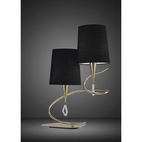 Mantra M1651FG/BS Mara Table Lamp 2 Light E14, French Gold With Black Shades