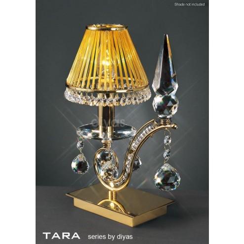 Tara Table Lamp 1 Light French Gold/Crystal