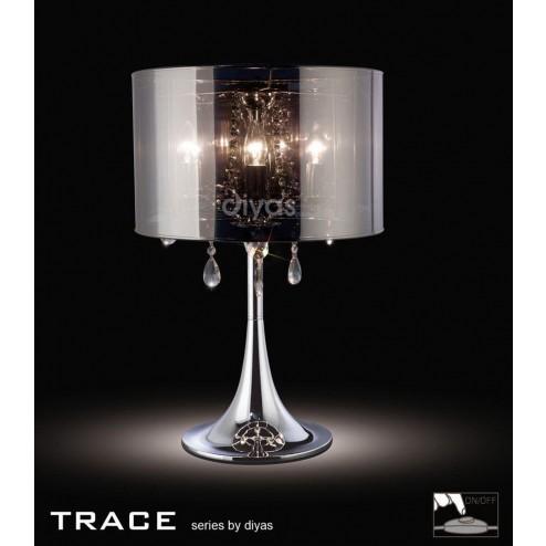 Trace Table Lamp 3 Light Polished Chrome/PVC /Crystal