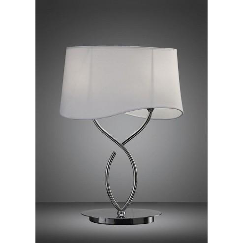 Mantra M1906 Ninette Table Lamp 2 Light E14 Large, Polished Chrome With Ivory White Shade