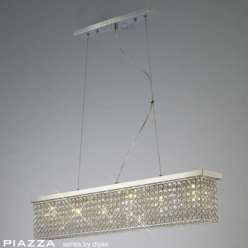 Piazza Pendant Rectangular 6 Light Polished Chrome/Crystal
