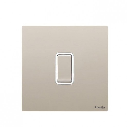 GU1412RWPN SCHNEIDER ULTIMATE SCREWLESS 1 GANG 2 WAY 10A RETRACTIVE PLATE SWITCH PEARL NICKEL / WHITE INSERT
