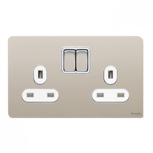 GU3420WPN SCHNEIDER ULTIMATE SCREWLESS 2 GANG 13A SWITCHED SOCKET PEARL NICKEL / WHITE INSERT