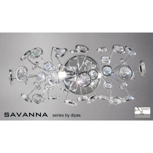 Savanna Wall Lamp Switched 2 Light Polished Chrome/Crystal