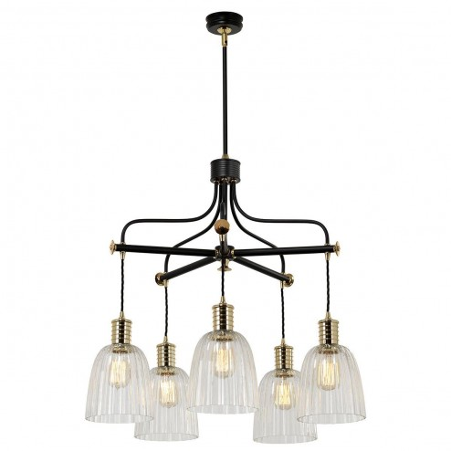 Elstead DOUILLE5 BPB 5 Arm Chandelier Ceiling Light In Black And Polished Brass