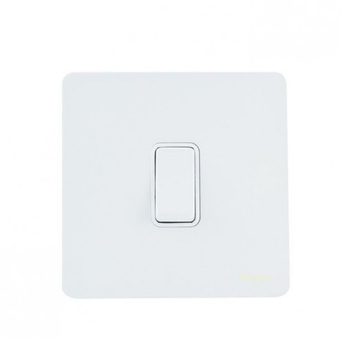 GU1412WPW SCHNEIDER ULTIMATE SCREWLESS 1 GANG 2 WAY 16AX PLATE SWITCH WHITE METAL / WHITE INSERT