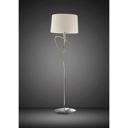 Mantra M1652 Mara Floor Lamp 1 Light E27, Polished Chrome With Ivory White Shade