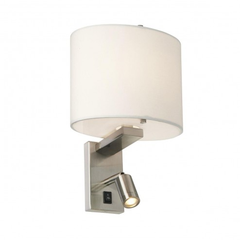 Elstead BELMONT/2W Belmont 2 Light Wall Light In Brushed Nickel With White Shade