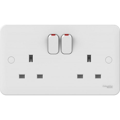 SCHNEIDER LISSE WHITE MOULDED 2 GANG 13A DP SWITCHED SOCKET OUTLET - ADD LED OPTION WHITE