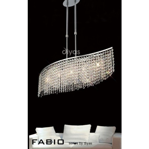 Fabio Telescopic Pendant Bar 5 Light Polished Chrome/Crystal