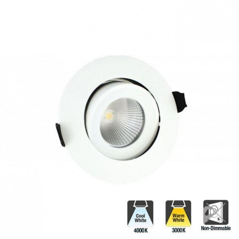 Integral LED Luxury Fire Rated Tiltable & Non-Dimmable Downlight 6W 410lm 36 Deg Beam Angle White