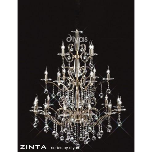 Zinta Pendant 3 Tier 22 Light French Gold/Crystal