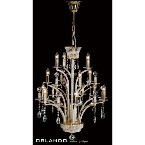 Orlando Pendant 12 Light French Gold/Crystal