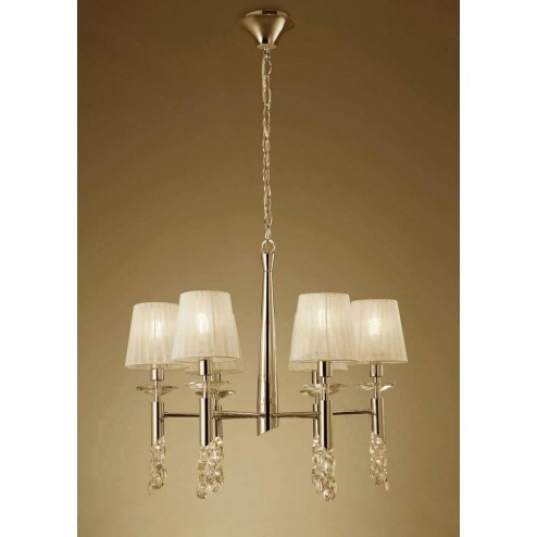 Mantra M3851FG Tiffany Pendant 6+6 Light E14, French Gold With Cream Shades & Clear Crystal