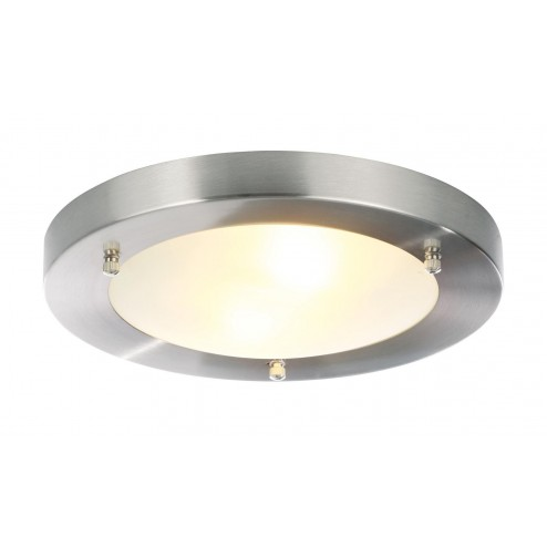SPA CANIS Flush Fitting, Large Satin Nickel & Frosted Glass