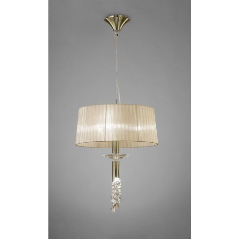 Mantra M3878 Tiffany Pendant 3+1 Light E27, Antique Brass With Soft Bronze Shade & Clear Crystal