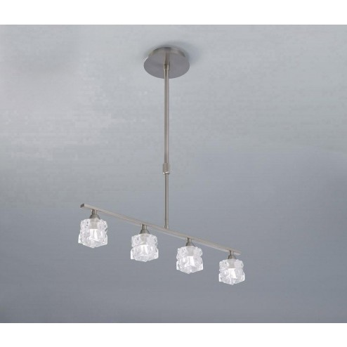 Mantra M1857 Ice Pendant 4 Light G9 ECO Bar, Satin Nickel