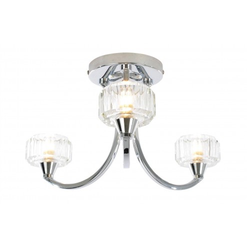 SPA OCTANS 3 Light Ceiling Fitting Chrome & Frosted Glass