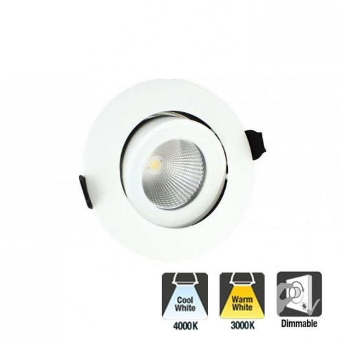 Integral LED Luxury Fire Rated Tiltable & Dimmable 6W, 9W or 12W 55 Deg Beam Angle or 36 Deg Beam Angle Downlight - White