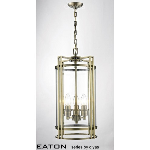 Eaton Pendant 3 Light Antique Brass/Glass
