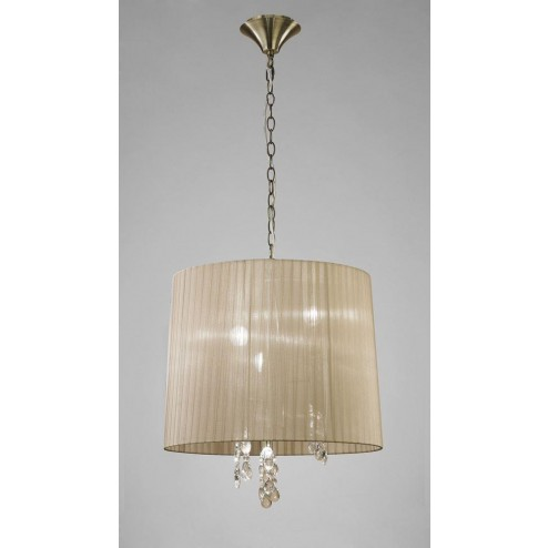 Mantra M3880 Tiffany Pendant 3+3 Light E14, Antique Brass With Soft Bronze Shade & Clear Crystal