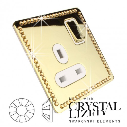 Ultimate Screwless 1 Gang 13A Socket Polished Brass with single row of GOLD Swarovski Elements Crystal