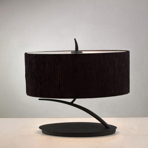 Mantra M1158/BS Eve Table Lamp 2 Light E27 Small, Antracite With Black Oval Shade