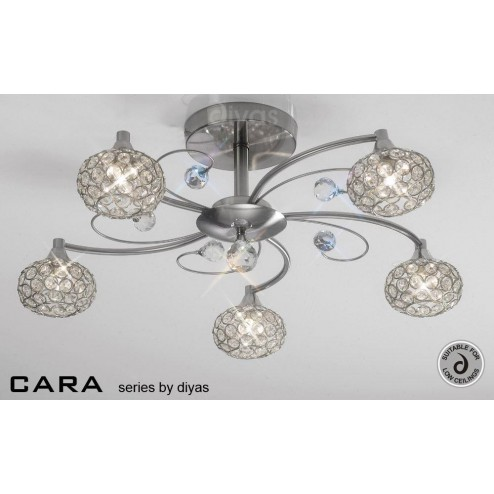 Cara Semi Ceiling 5 Light Satin Nickel/Crystal