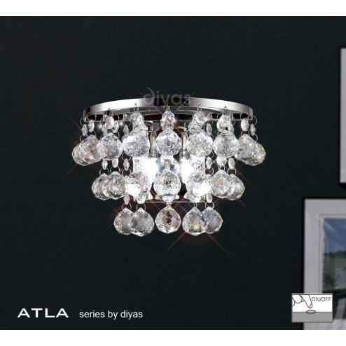 Atla Wall Lamp 2 Light Switched Polished Chrome/Crystal