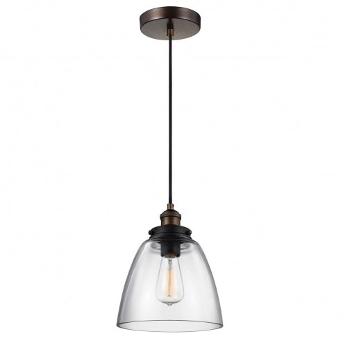 Feiss FE/BASKIN/P/B BR Baskin 1 Light Small Ceiling Pendant In Aged Brass And Zinc