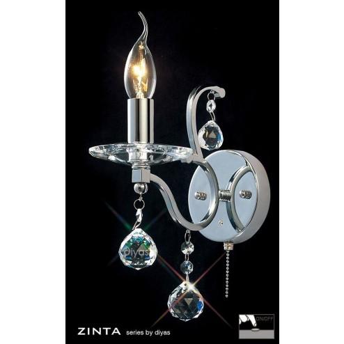 Zinta Wall Lamp Switched 1 Light Polished Chrome/Crystal
