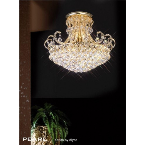 Pearl Ceiling 12 Light French Gold/Crystal