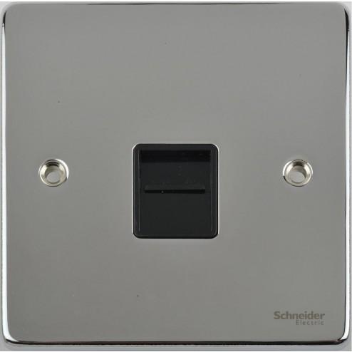 GU7561BPC Schneider Ultimate Low Profile Master Telephone Socket Polished Chrome / Black Insert