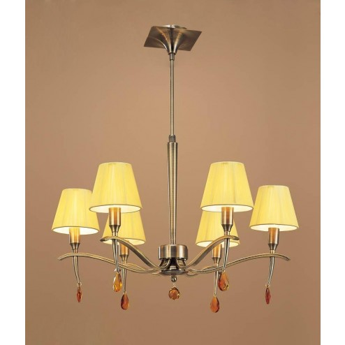 Mantra M0342AB Siena Pendant Round 6 Light E14, Antique Brass With Amber Cream Shades And Amber Crystal