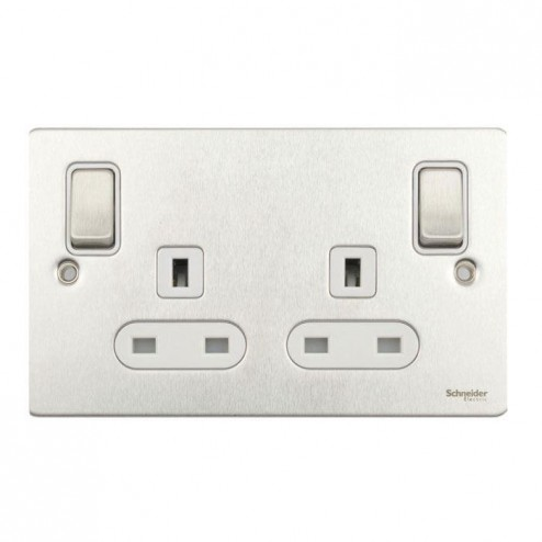 GU3231WSS Schneider Ultimate flat plate 2 gang 13A DP switched socket with outboard rockers Stainless Steel / White Insert