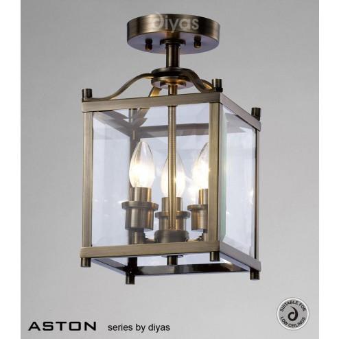 Aston Semi Ceiling 3 Light Antique Brass/Glass