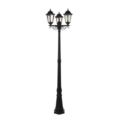 COAST BIANCA Polycarbonate 6 Panel Triple Head Tall Post Lantern Black
