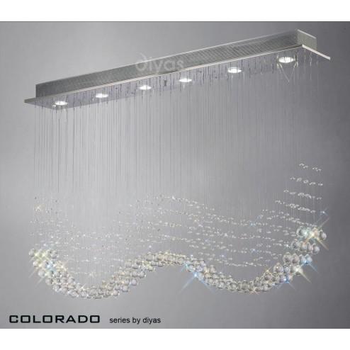 Colorado Pendant Line 6 Light Polished Chrome/Crystal