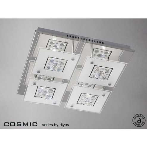 Cosmic Ceiling Square 4 Light Polished Chrome/Glass/Crystal