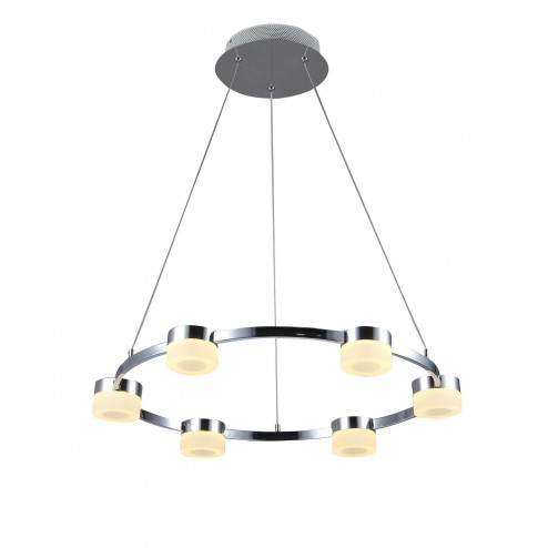 CULINA Rhea Rhea LED 6 light Acrylic Ring Diner Fitting Dimmable Chrome & Frosted Acrylic