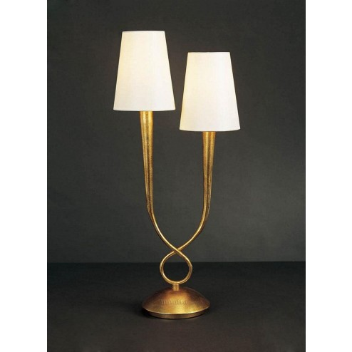 Mantra M0546 Paola Table Lamp 2 Light E14, Gold Painted With Cream Shades