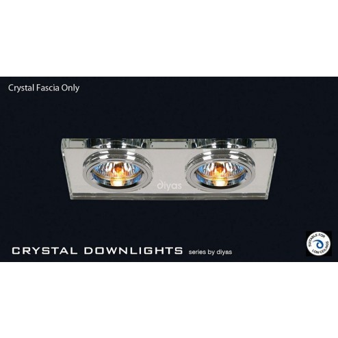 Crystal Dual Head Downlight Rectangle Rim Only Clear