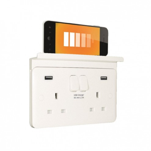 SCHNEIDER LISSE WHITE MOULDED 2 GANG 13A SWITCHED USB SOCKET OUTLET WITH PHONE / TABLET HOLDER SHELF