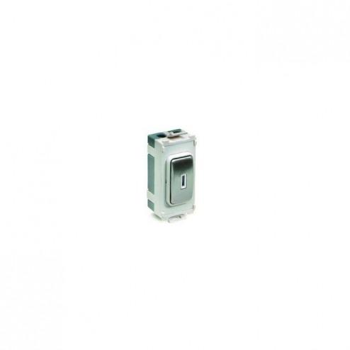 SCHNEIDER ULTIMATE GRID 20AX DP KEY SWITCH MODULE  STAINLESS STEEL / WHITE INSERT